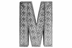 "Alphabet Wall Decor Letter ""M"" - Pierced Metal Design Large - Silver - Benzara"