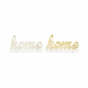 Aluminium Acrylic Home Sign In Gold And Silver, 2 Assortment - 98430 by Benzara