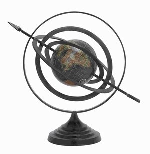 Metal Globe With Beautiful Stable Design & Stable Base - 28354 by Benzara
