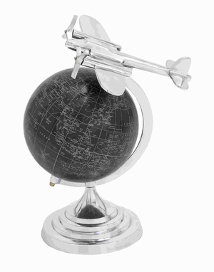 Globe With Matte Black Background And White Mapping - 28349 by Benzara