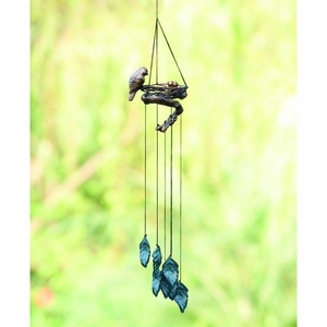 Aluminum Bird and Nest Wind Chime with Leaves by SPI-HOME