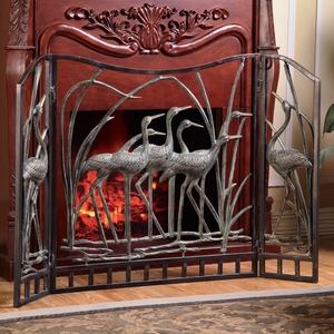 Aluminum Fireplace Screen Featuring Flock of Crane by SPI-HOME