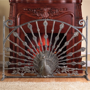 Aluminum Fireplace Screen Featuring Proud and Beautiful Crafted Peacock Figurine by SPI-HOME