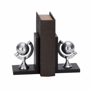 Library Aluminum Globe Bookend Pair - 35291 by Benzara