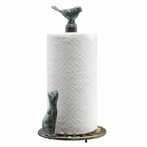 Aluminum Paper Towel Holder with Figurines of Cat Staring at Bird by SPI-HOME