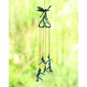 Aluminum Stylized Dragonflies Wind Chime in Blue Patina by SPI-HOME