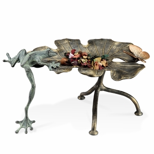Aluminum Tripod Stand Leaf Tray with Long Legged Frog by SPI-HOME