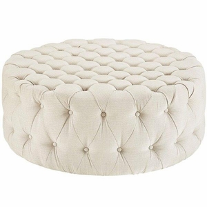Amour Upholstered Fabric Ottoman, Beige