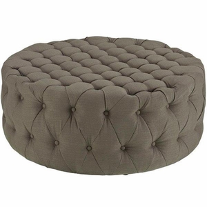 Amour Upholstered Fabric Ottoman, Granite