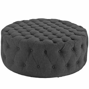 Amour Upholstered Fabric Ottoman, Gray