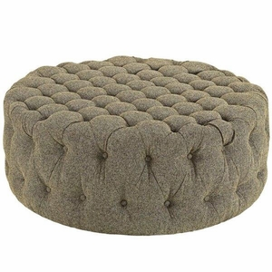 Amour Upholstered Fabric Ottoman, Oatmeal