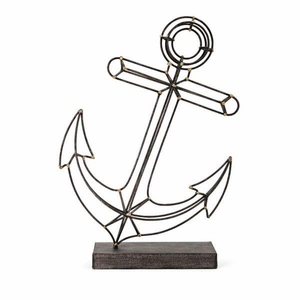 Anchor Metal Statuary - Black - Benzara