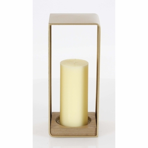 Angelica Metal Wood Candle Holder - 65660 by Benzara