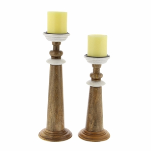 Annabelle Wood Marble Candle Holder In Brown Finish, Set Of 2 - 94556 by Benzara
