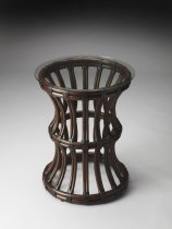 "Antigua Glass & Rattan End Table 20""Diam. by Butler Specialty"