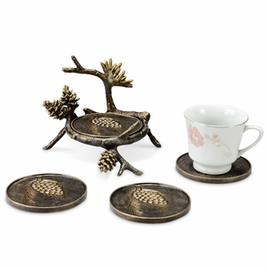 Antiquated Aluminum Pinecone and Branch Coaster Set of Four by SPI-HOME