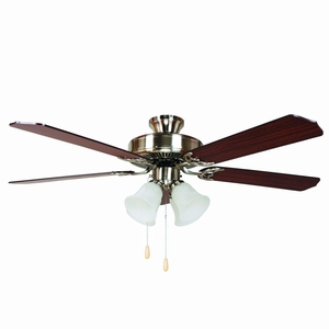 "Yosemite Home Decor 52""Ceiling Fan in Satin Nickel Finish with 4 Light"
