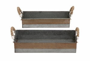 Antique And Classy Set Of Two Galvanized Tray - 27540 by Benzara