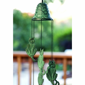Antique Blue Cat Hanging from Bell Wind Chime by SPI-HOME