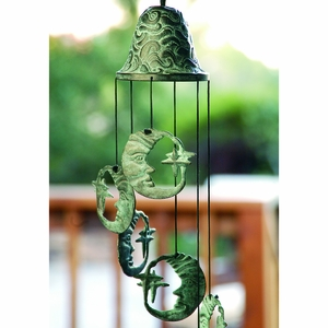 Antique Blue Moon Wind Chime Set of Five with Bell by SPI-HOME