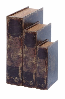 Faux Book Box Set With Ancient Holy Bible Theme - 59376 by Benzara