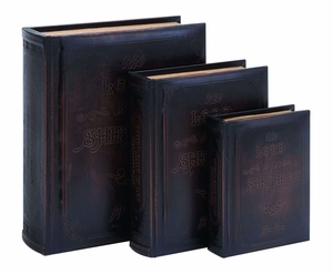 Antique Lord Is My Shepherd Book Box Set In Smooth Leather - 55714 by Benzara