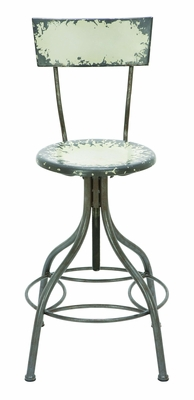Old Look Pale Yellow Bar Chair With Adjustable Seat - 55417 by Benzara