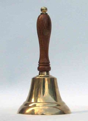 Antique School Bell With Polished Brass and Solid Wood Handle by Benzara