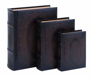 Smooth Leather Book Box Set With FloralDecoration - 55715 by Benzara