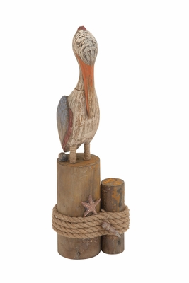 Antique Styled Fascinating Wood Rope Pelican - 78772 by Benzara
