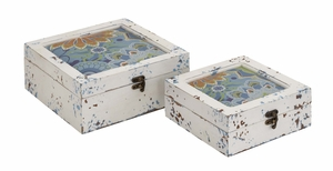 Antique Styled Multicolored Wood Box s/2 - 76182 by Benzara