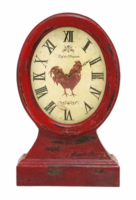 Farmer Themed Table Top Clock In Vintage Wood - 69256 by Benzara