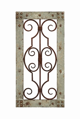 Antiqued Wooden And Metal Wall Panel With Vintage Ruggedness - 52753 by Benzara