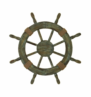 WOOD SHIP WHEEL BRINGS NAUTICAL LIFE IN YOUR HOME - 41262 by Benzara
