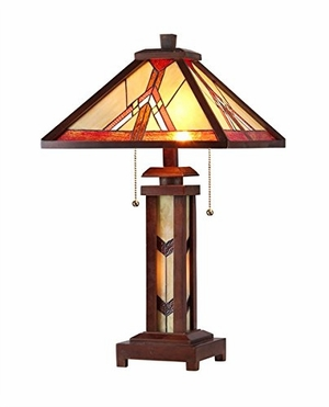 """ANTON Tiffany-style 3 Light Mission Double Lit Wooden Table Lamp 15"""" Shade"""