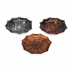 Apothescary Halloween Glass Spider Web Dishes - Assortment Of 3 - Benzara