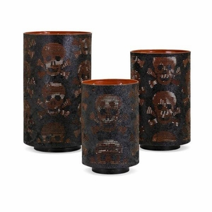 Apothescary Halloween Pierced Skull Lanterns - Set of 3 - Black - Benzara