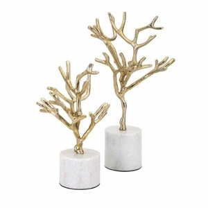 Appealing Concepts Eclipse Trees on Marble Base - Set of 2 - Gold  - Benzara