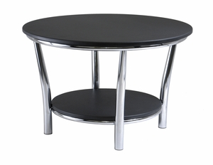 Winsome Wood Maya Round Coffee Table with Black Top