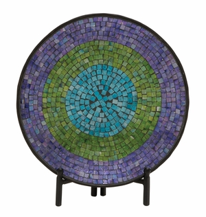 Appealing Metal Mosaic Platter With Stand - 24190 by Benzara