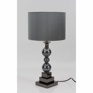 Appealing Polystone Metal Glass Table Lamp - 39974 by Benzara