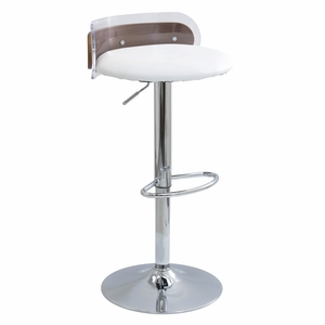 Arc Contemporary Adjustable Barstool in Acrylic & Walnut Wood by LumiSource