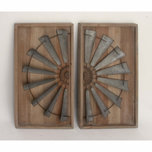 Architectural Wood Metal Wall Panel, Set Of 2 - 47946 by Benzara
