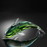 Art Glass Decor Miniature Showpiece Dolphin in Green by SPI-HOME