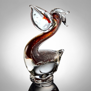 SPI-76056 Glass Home Decor Pelican with Fish in Red and Silver