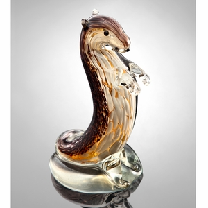 Art Glass Standing Curious Otter in Brown by SPI-HOME