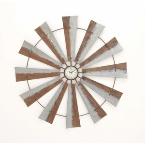 Artisitic Windmill Wall Clock, Brown And Gray - 84204 by Benzara