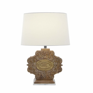 Artistically Carved Wood Marble Table Lamp - 94548 by Benzara