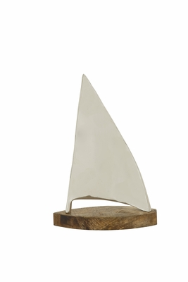 Artistically Crafted Metal Wood Sailboat - 24044 by Benzara