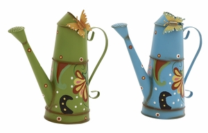 Artistically Designed 2 Assorted Metal Watering Can - 58538 by Benzara